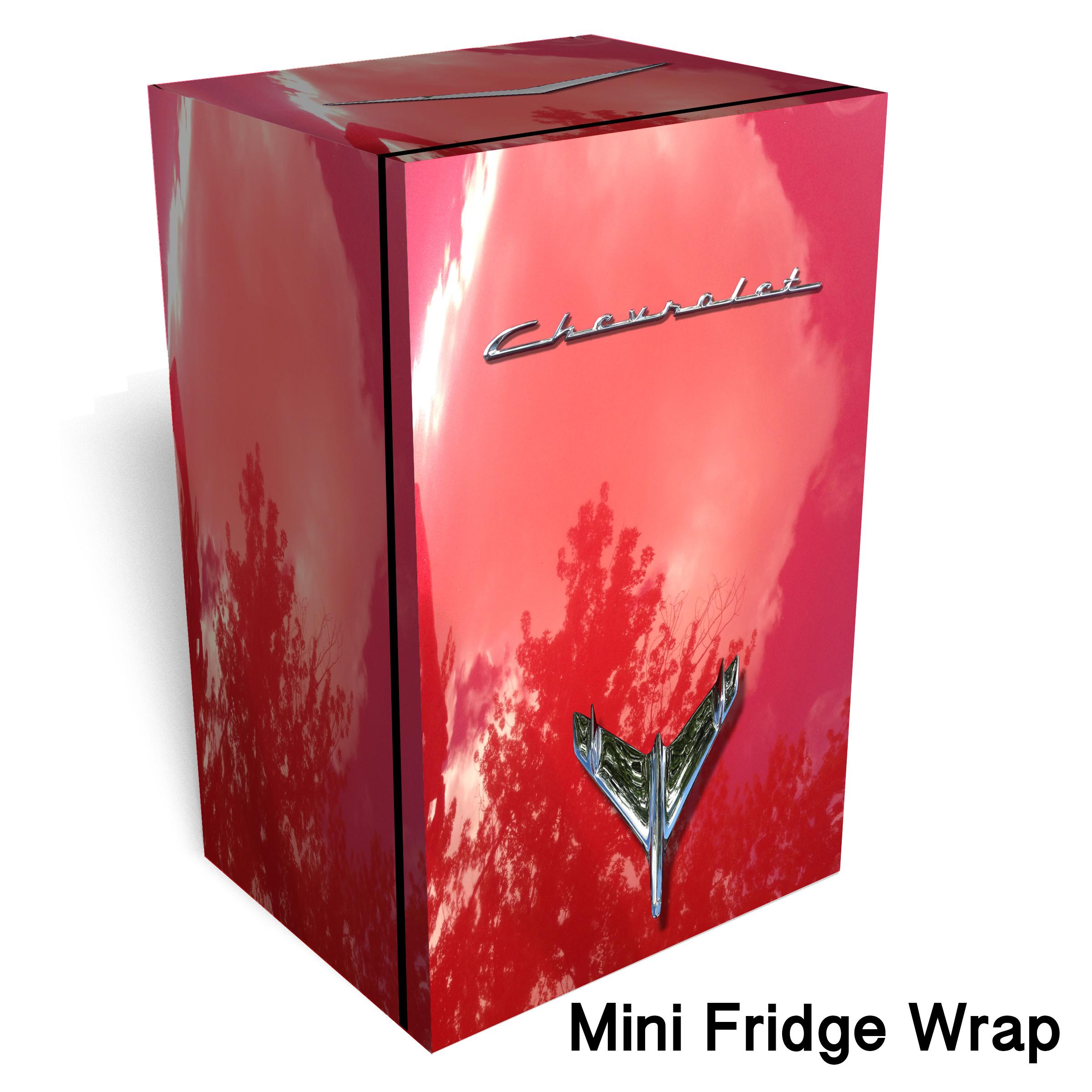 Red Chevrolet mini fridge wrap
