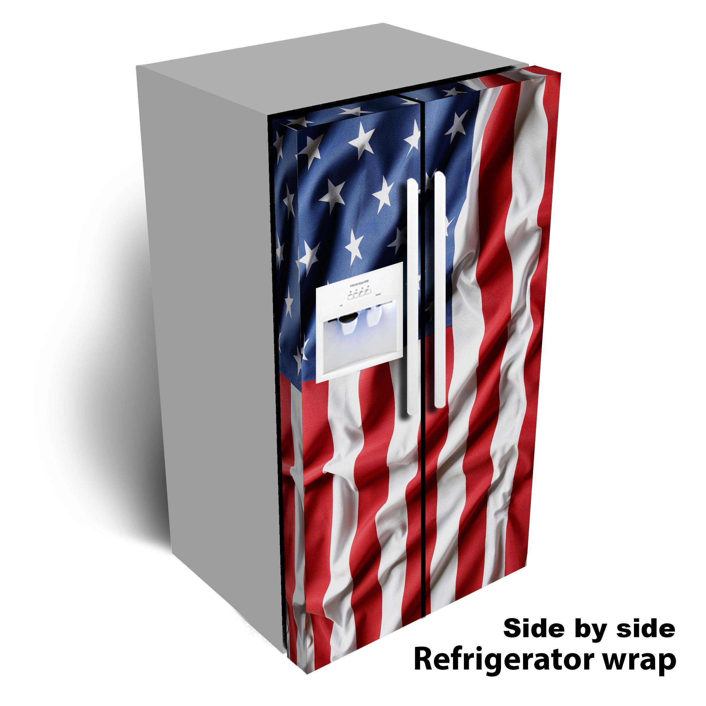USA Flag Wavy refrigerator wrap