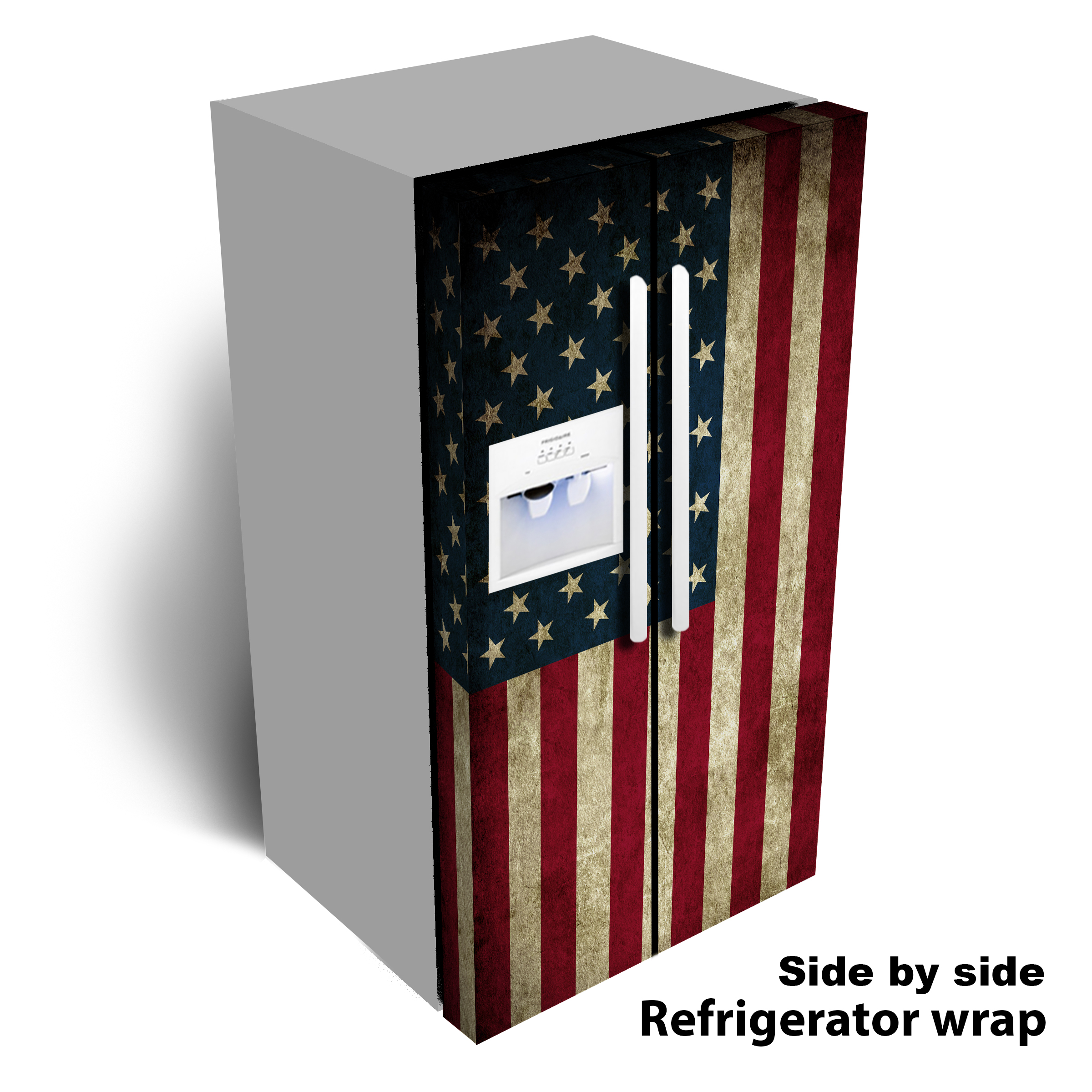 USA Flag worn refrigerator wrap
