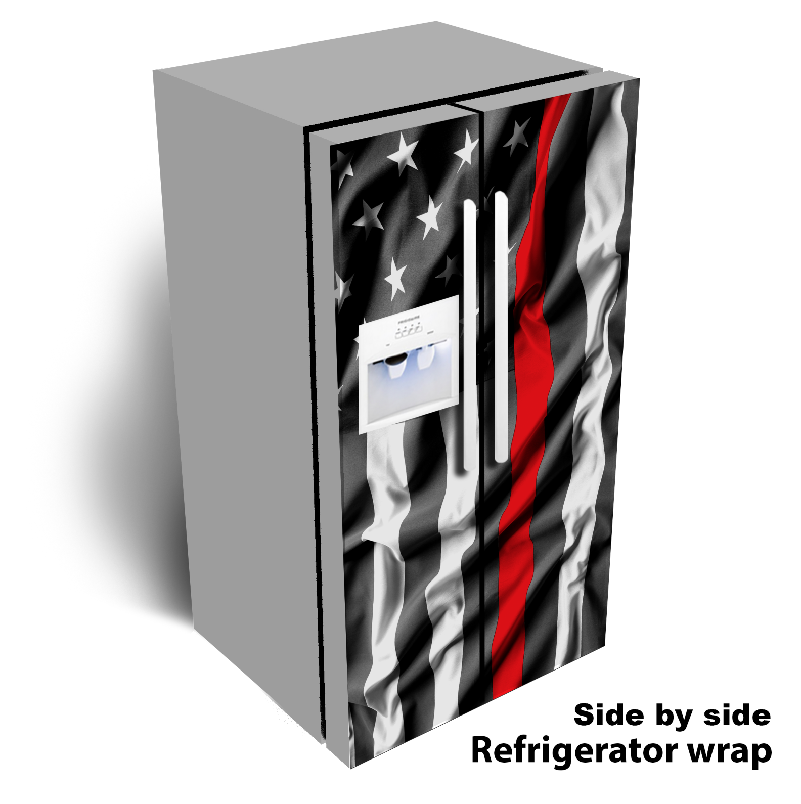 THIN RED LINE Red strip USA Flag clean wave refrigerator