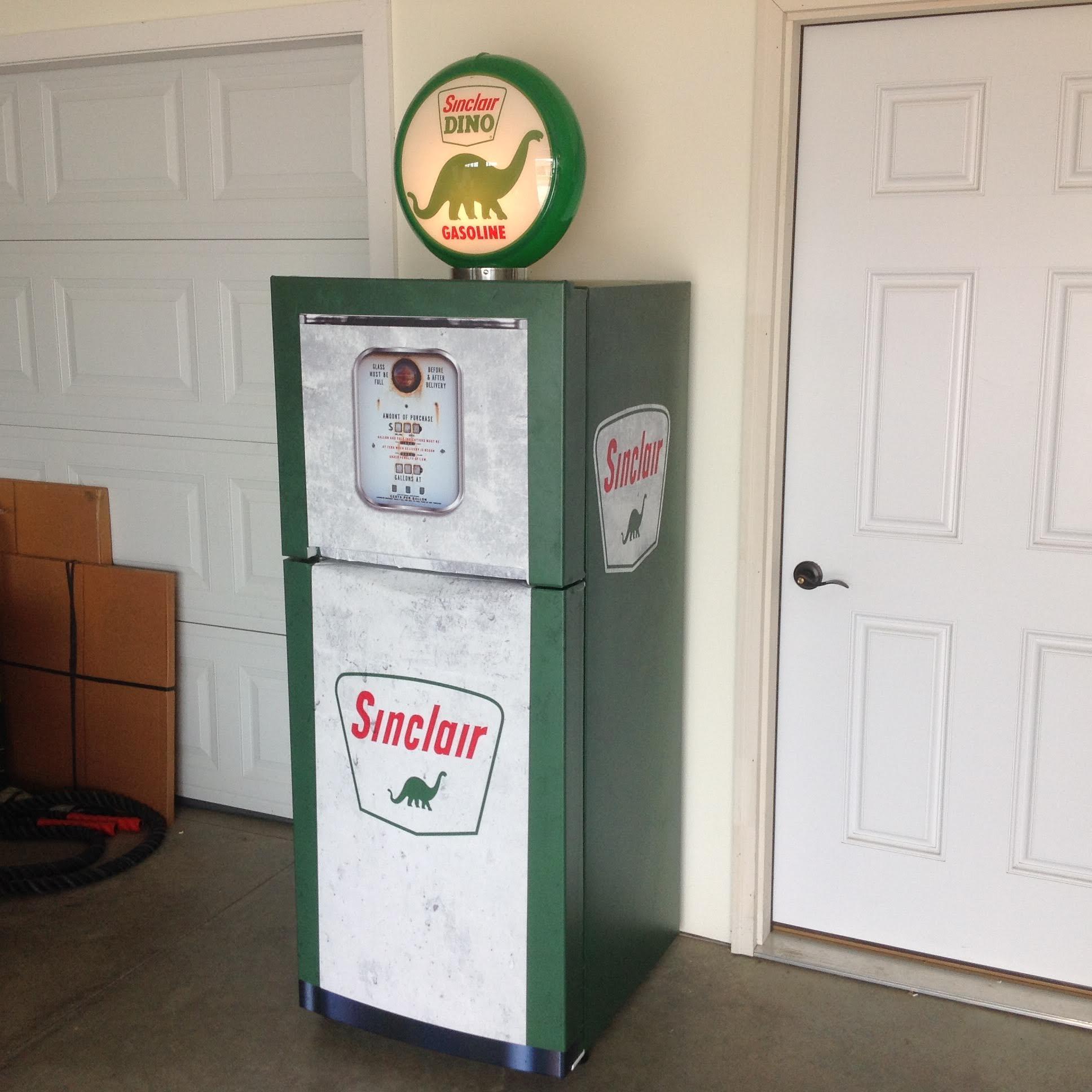 Vintage Gas Pump Sinclair green white refrigerator wrap sticker3