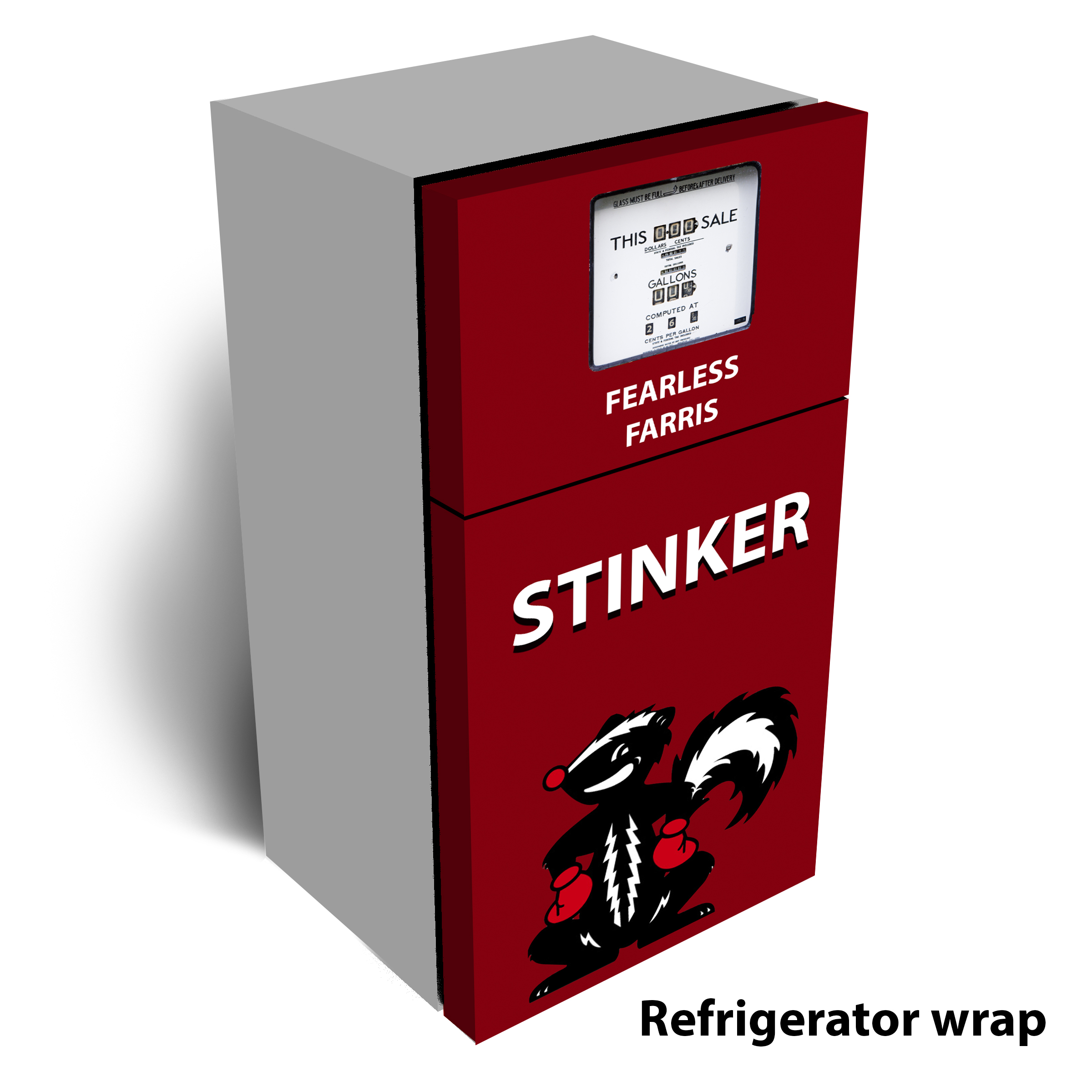 Stinker Gas Pump Refrigerator Wrap