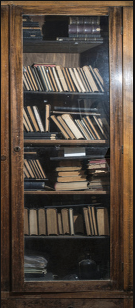 Old books in a vintage library door wrap right