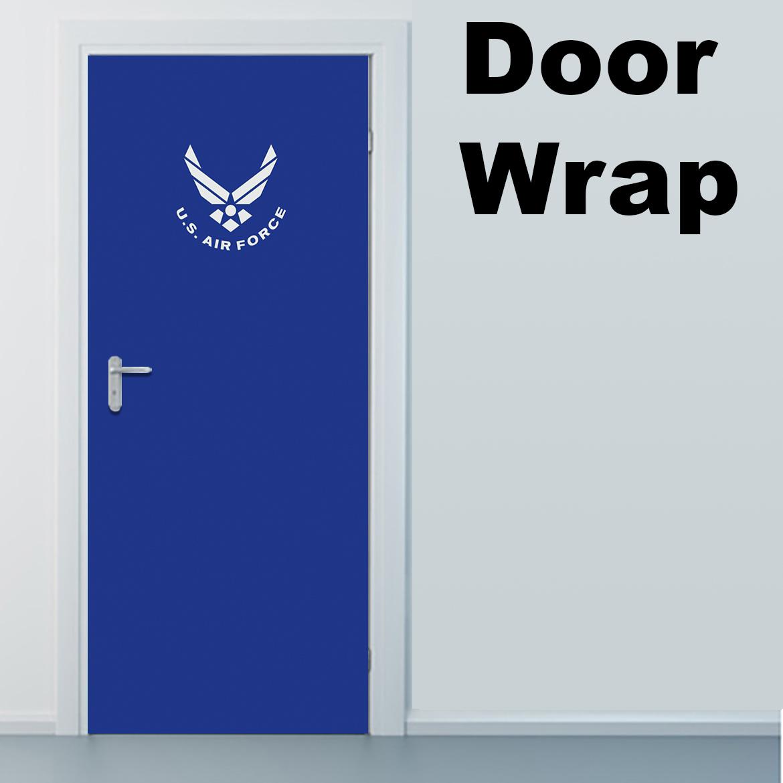 Air force blue with logo door wrap Door wrap