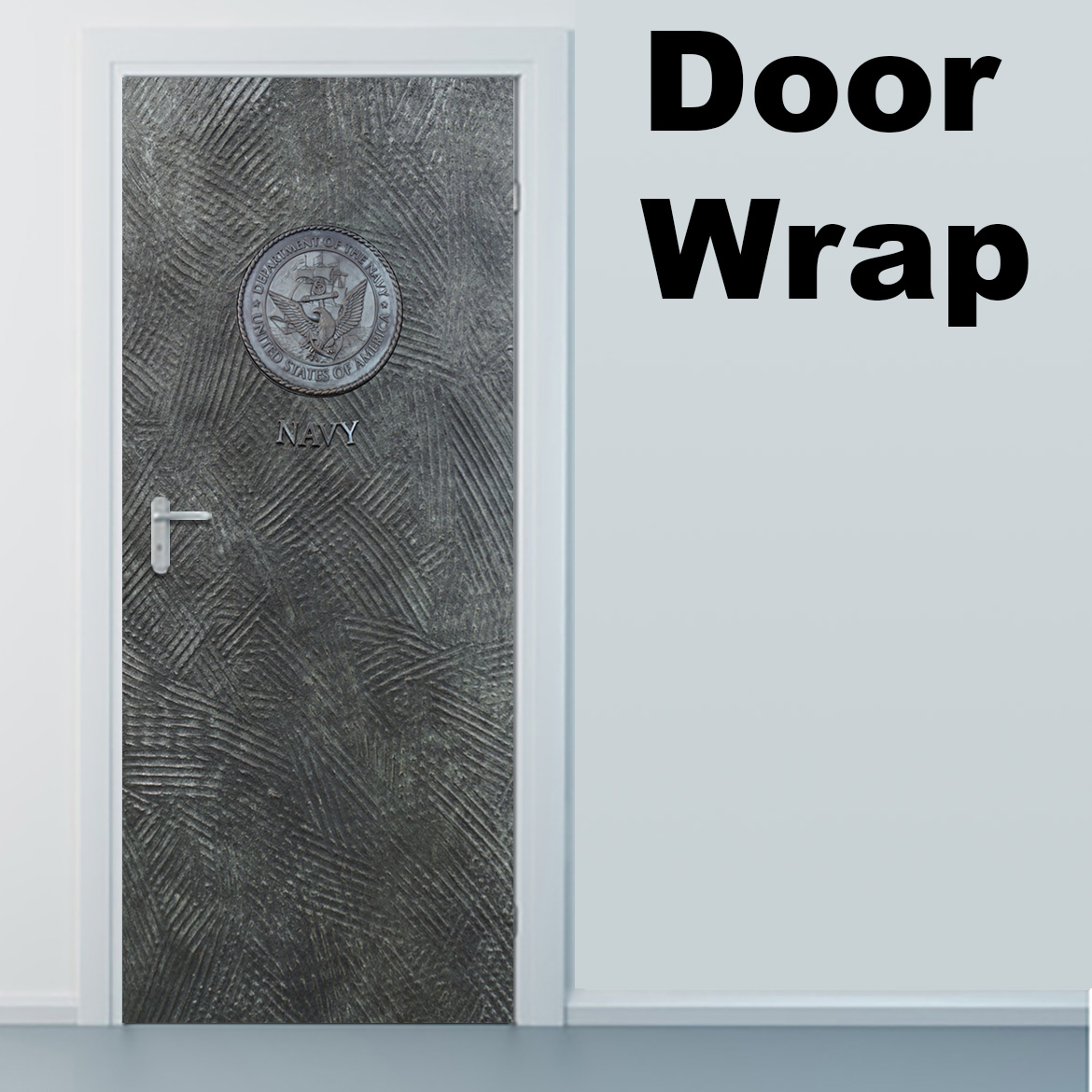 Navy Metal door wrap
