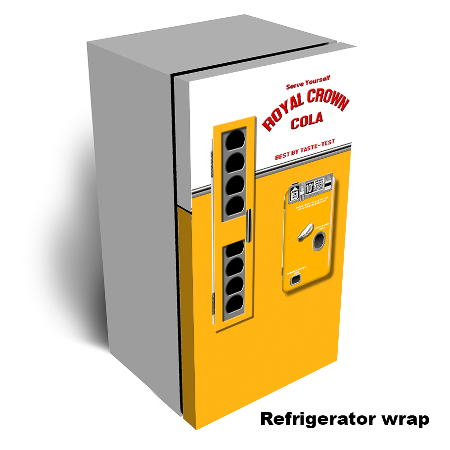 Rc Cola Vending Machine Refrigerator Wrap - one door
