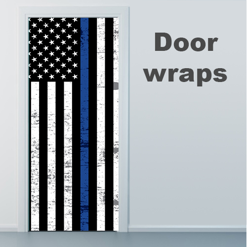 blue line American flag door wrap