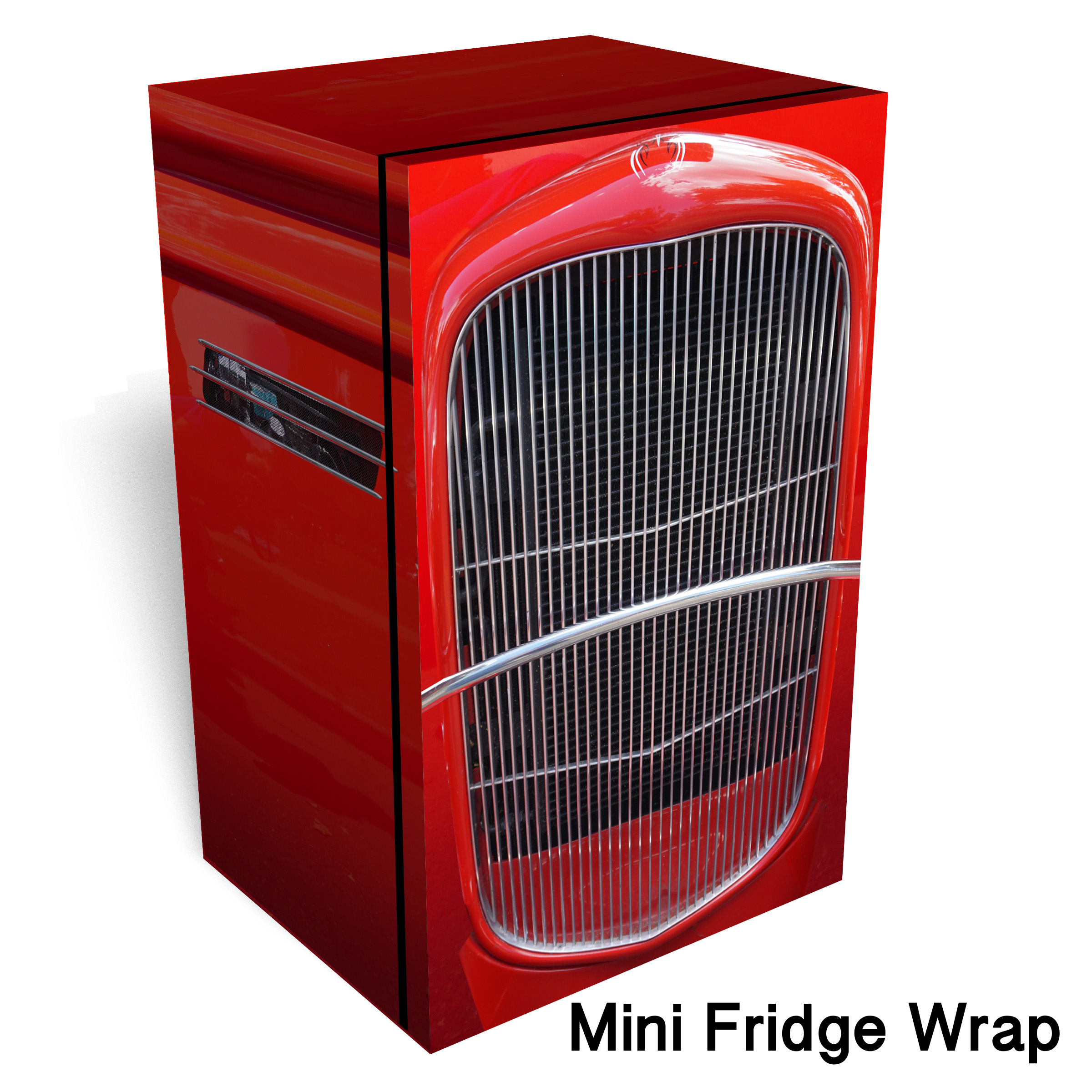 Hot Rod Red 2 Mini Fridge Wrap