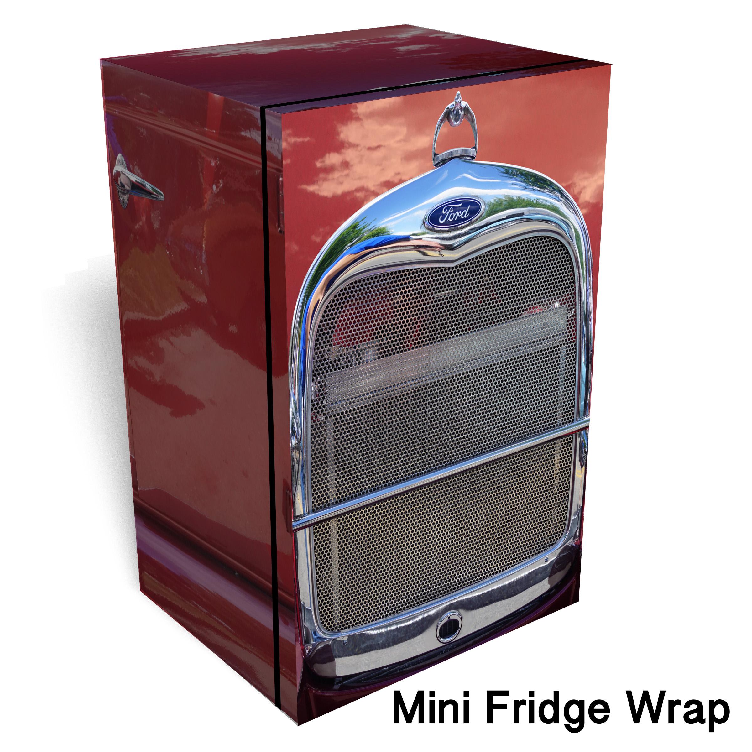 Hot Rod Red Chrome Mini Fridge Wrap