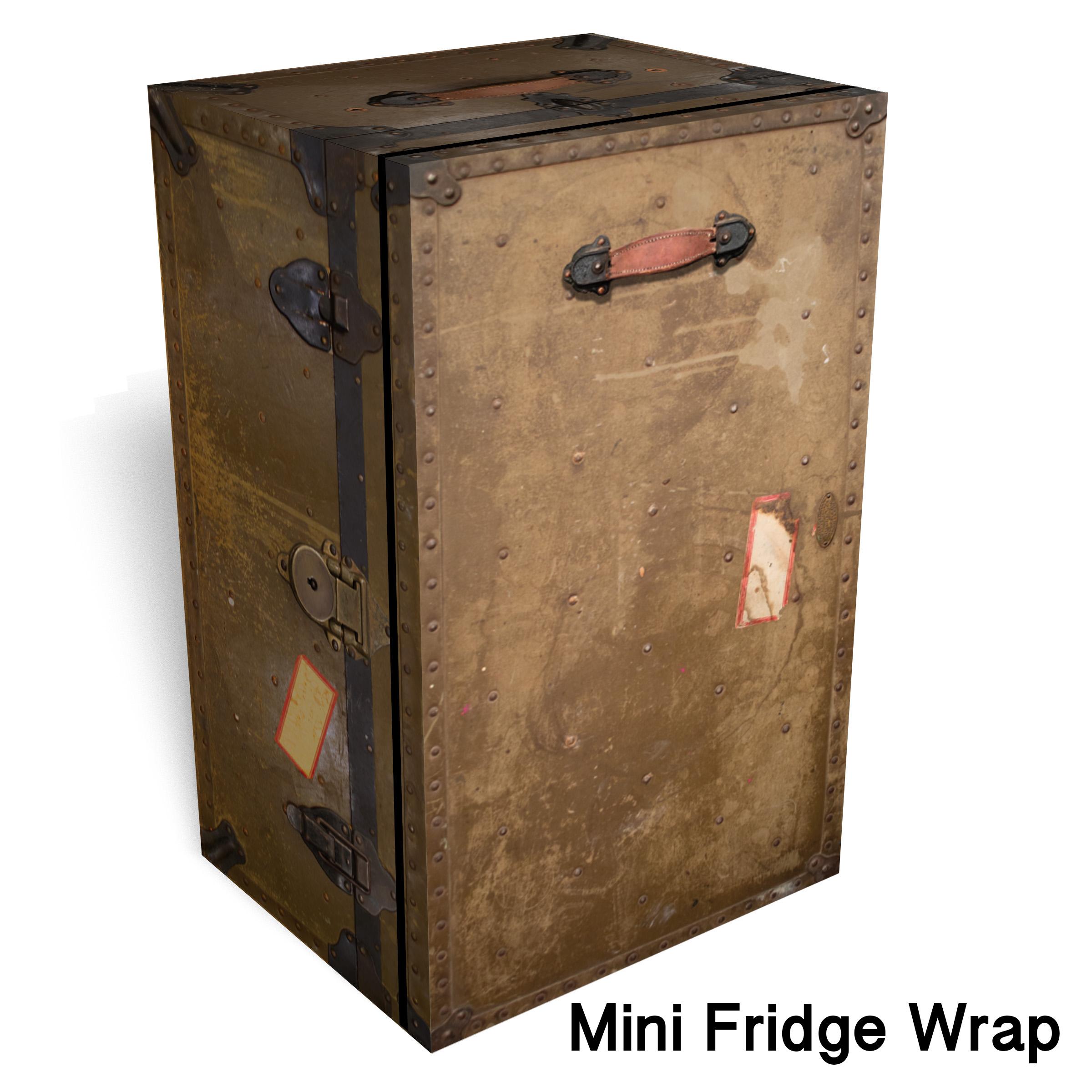 Vintage Army Trunk Mini Fridge Wrap