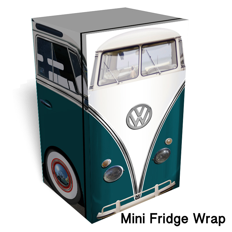 Vw Bus Teal Mini Fridge Wrap