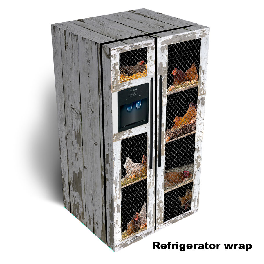Chicken Coop Side by Side Refrigerator Skin