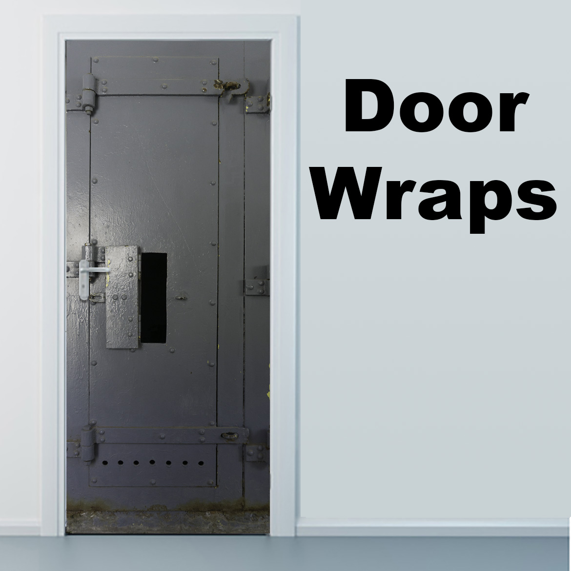 Grey Prison Door with Open Window Door Wrap