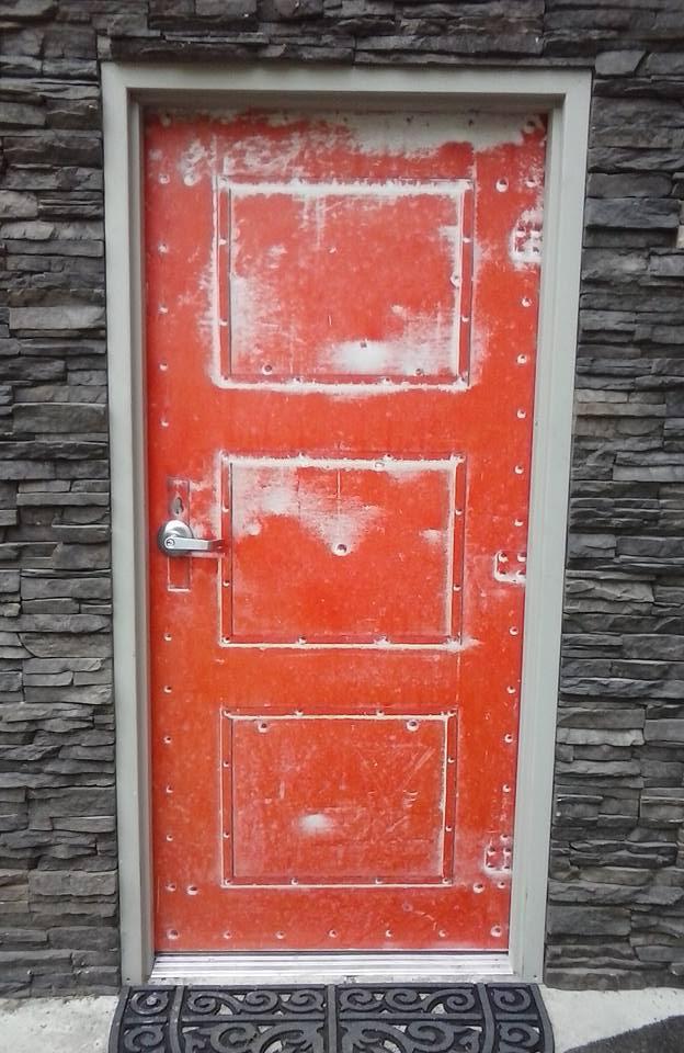 Old Red Metal Door Wrap
