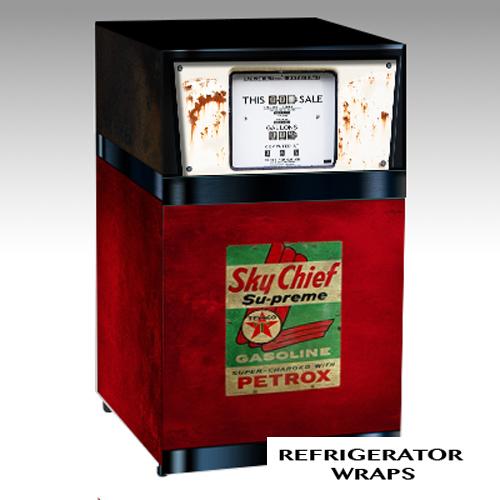 Vintage Gas pump mini fridge wrap