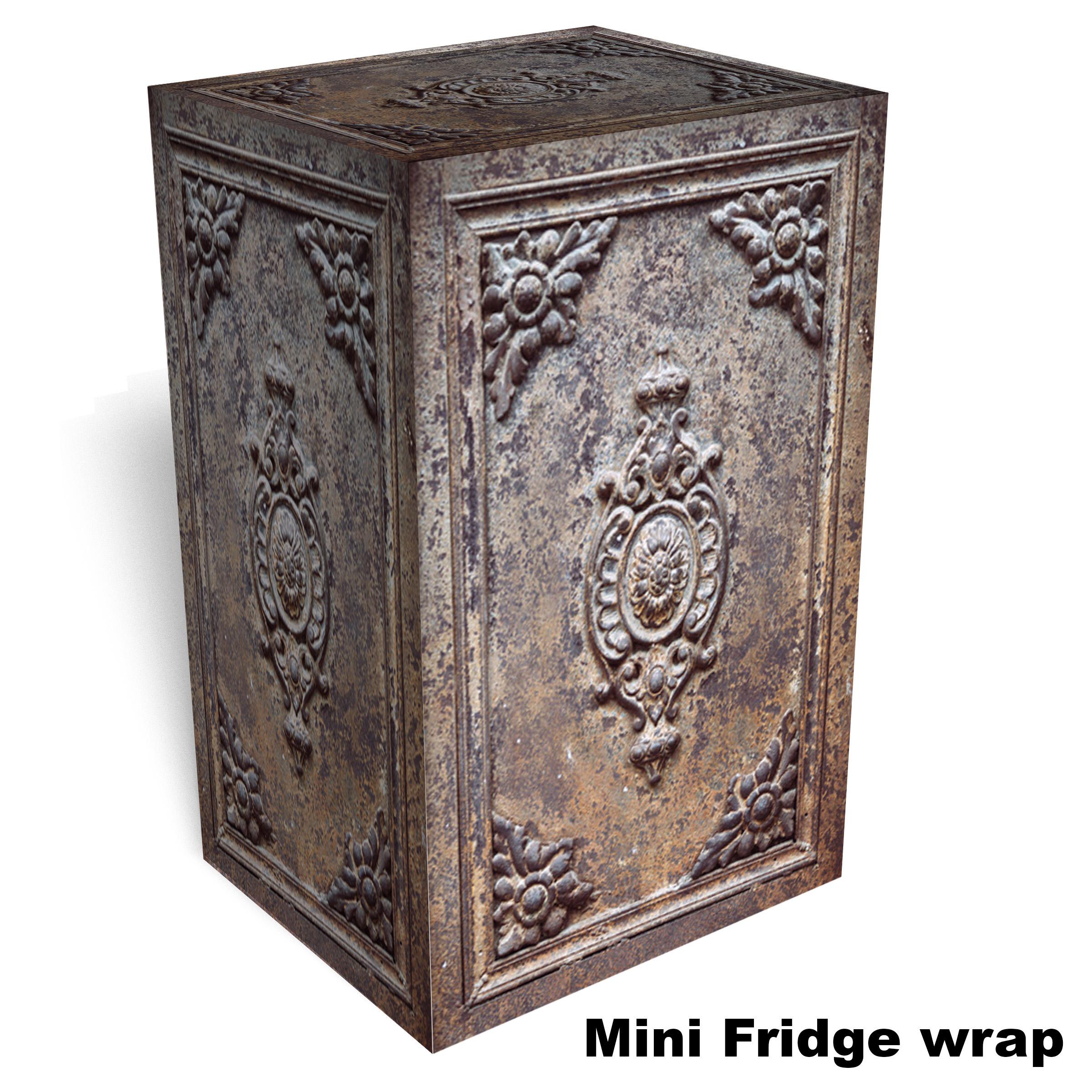 Old Metal Door Texture with Rust Mini Fridge Wrap