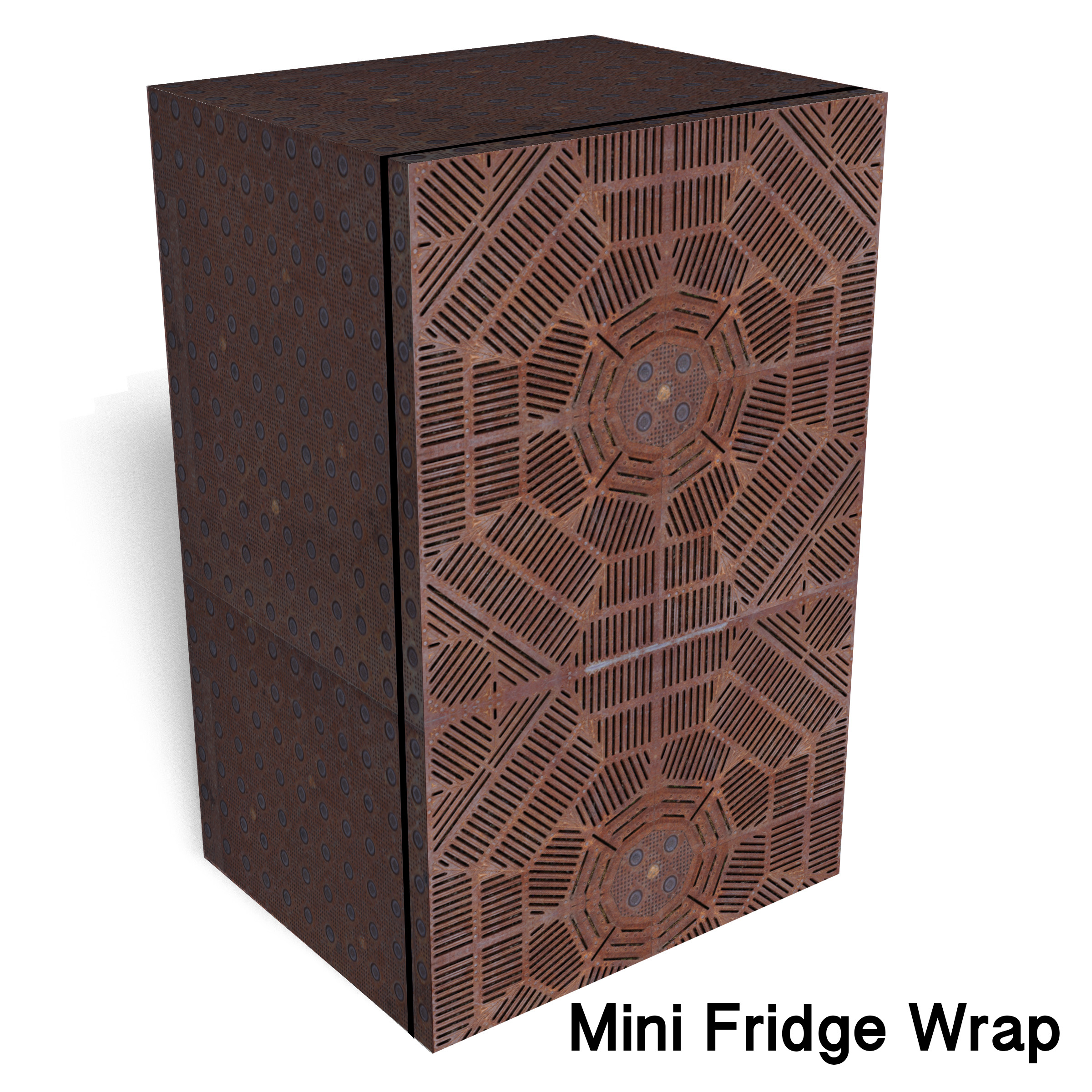 Rust Metal Grid Mini Fridge Wrap