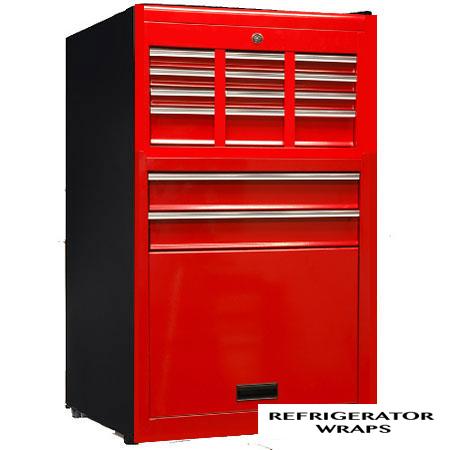 Red tool box Mini fridge wrap