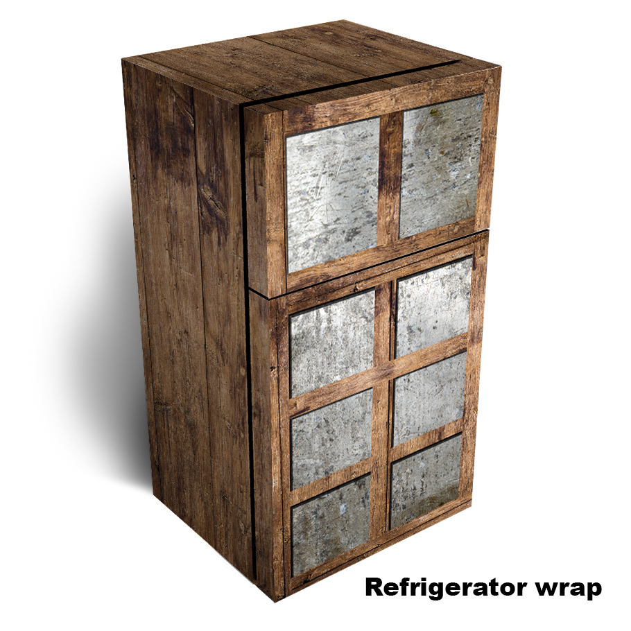 Tin Metal with Wooden Refrigerator wrap