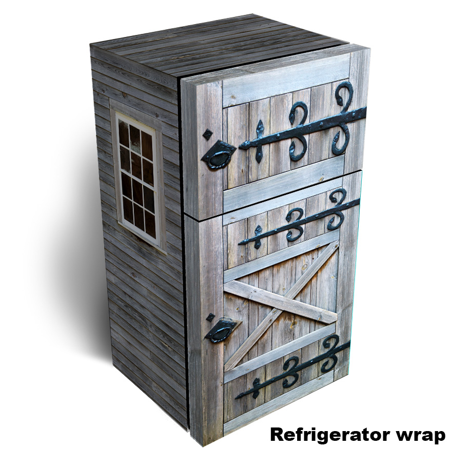 Old Barn Door Refrigerator wrap