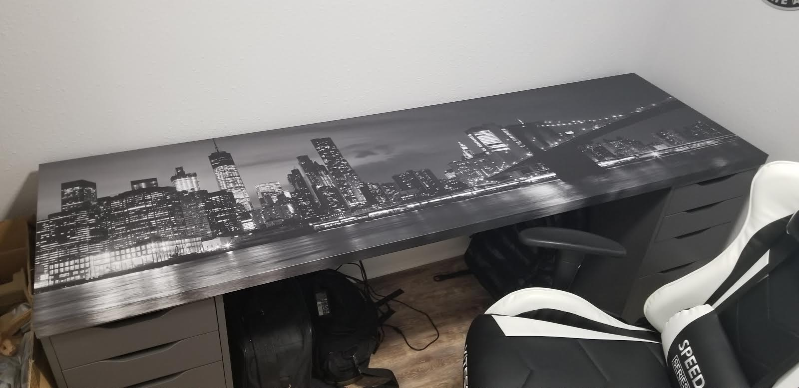 New York city with Brooklyn Bridge, iconic skyline panorama at night in black and white table wrap