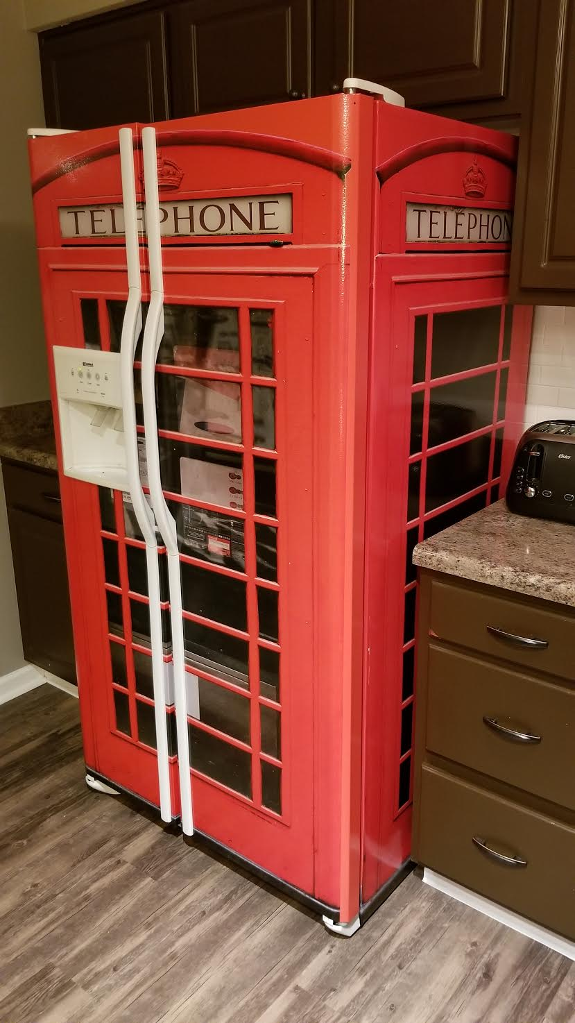 Red Telephone Box Refrigerator wrap Side by side