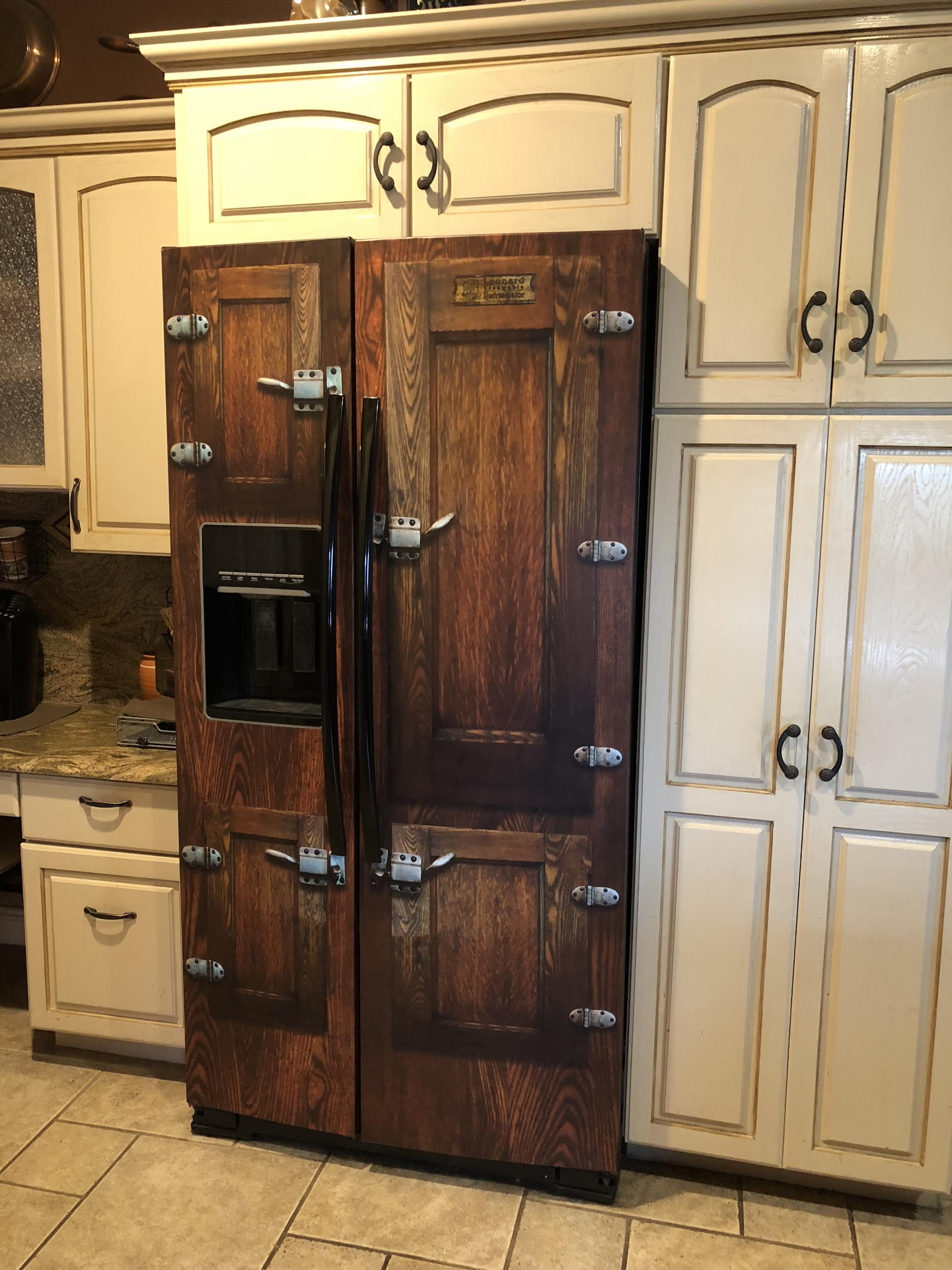 Icebox, Side by Side, Refrigerator Wrap, Vintage Icebox, Unique wrap, fridge cover, wooden fridge