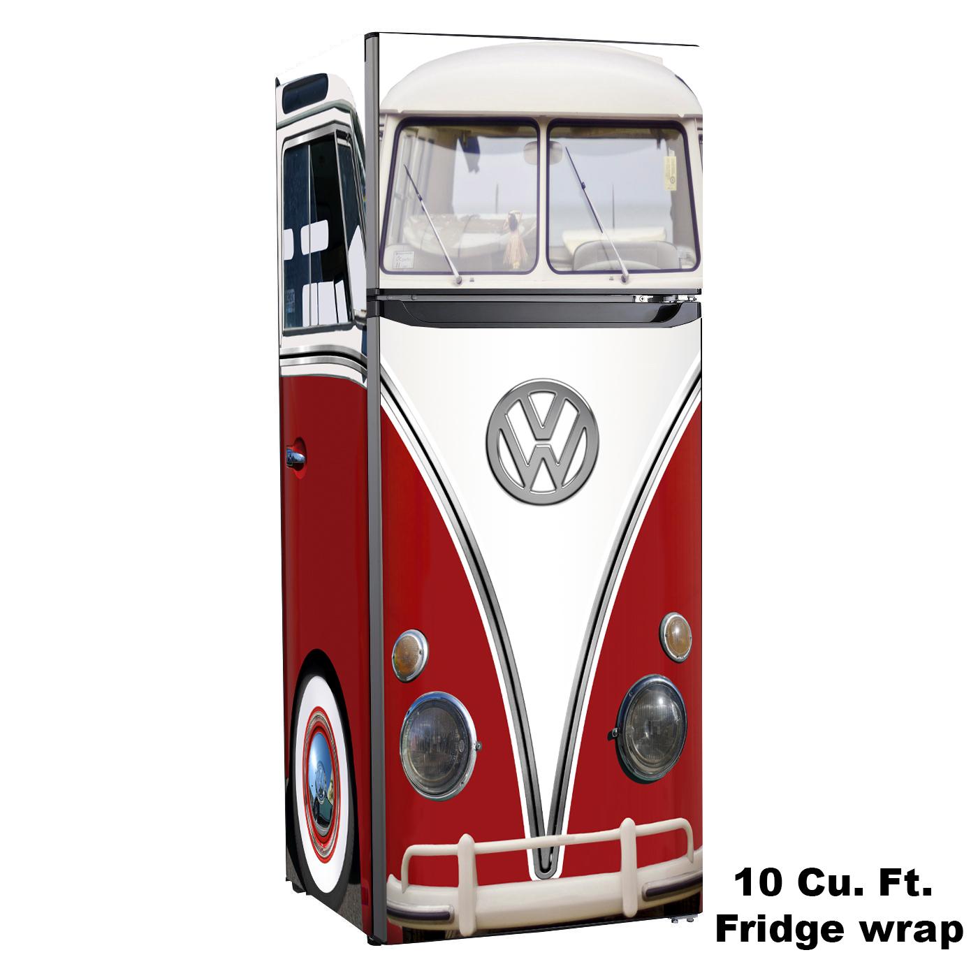 Vw Bus, 10 cu. ft. Fridge, Design Skin, rm wraps, vw red bus