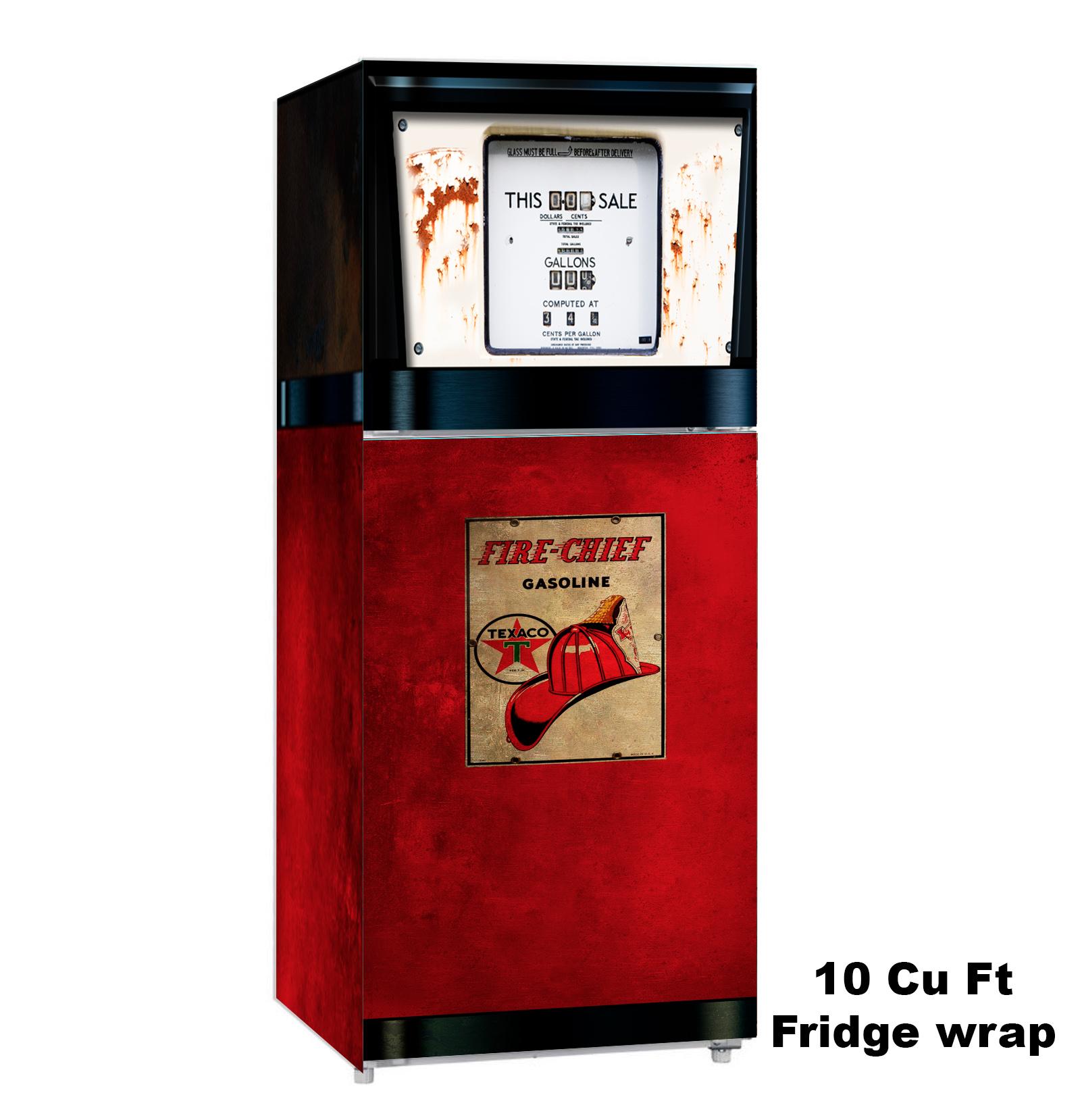 Texaco Pump, 10 cu. ft., Fridge Wrap, Rm wraps, Vinyl wrap