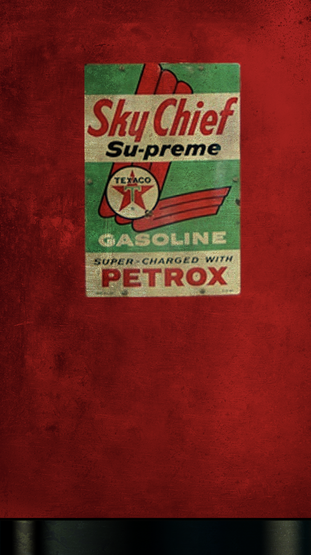 Fridge wrap, Rm wraps, Sky Chief, Texaco logo, Rustic fridge, Gas pump
