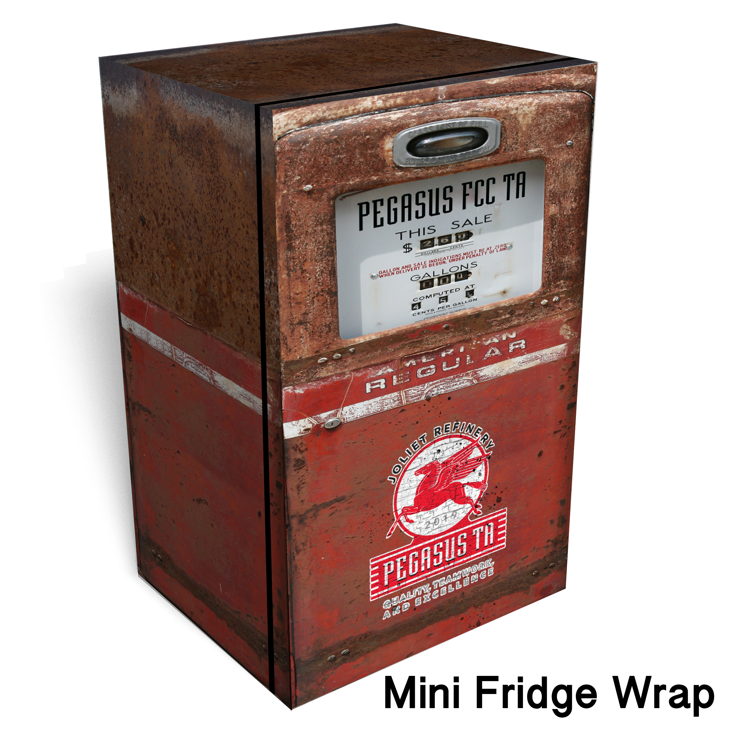 Copy of Mobilgas red Rust Mini Fridge wrap Mini fridge wrap
