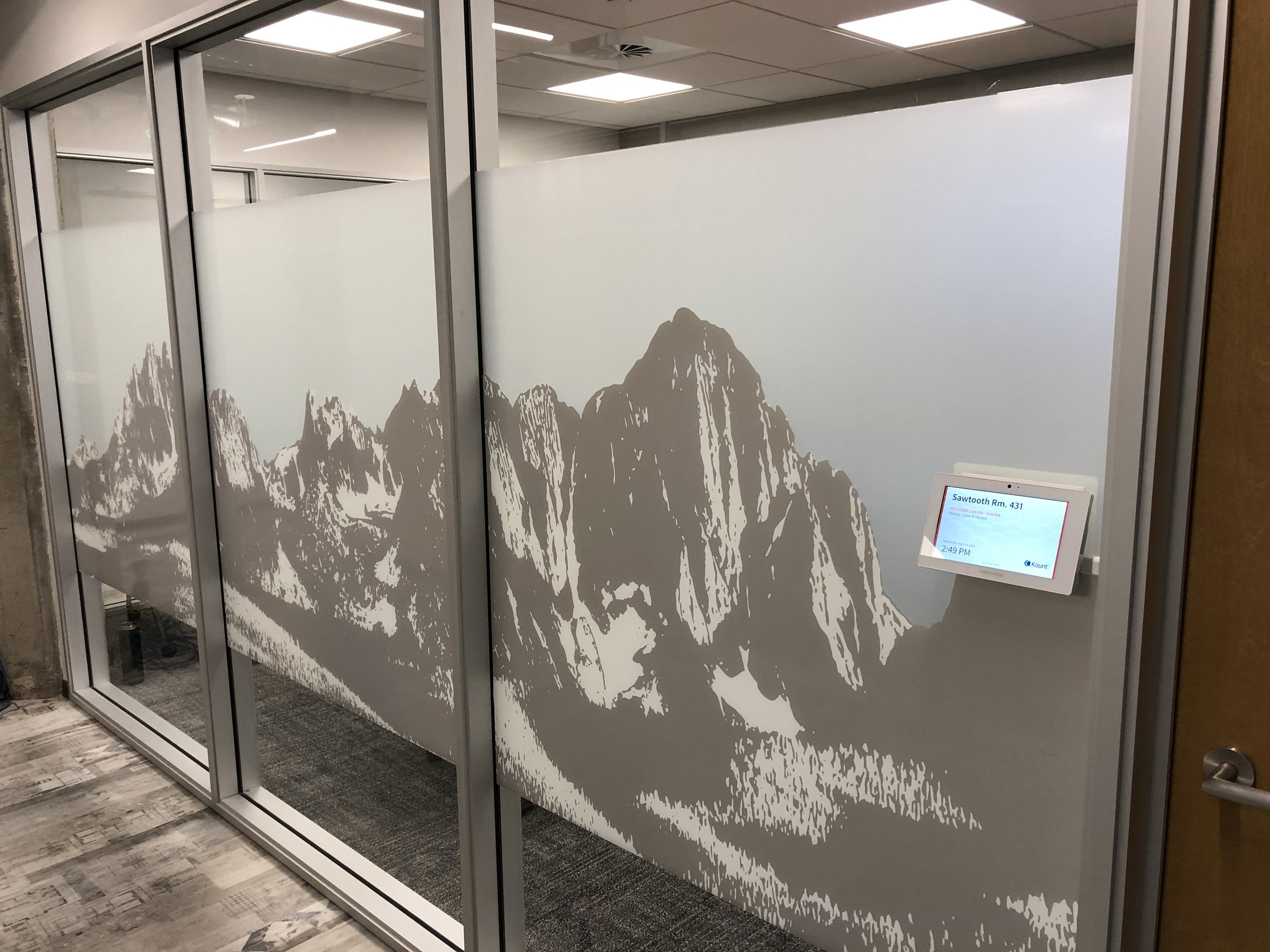 privacy window film, frosted window film, window privacy, cut to fit window privacy film, Rm wraps, stick on privacy film, Office privacy window film, Boise, Idaho, Kount, Wide format printing, Print on Demand