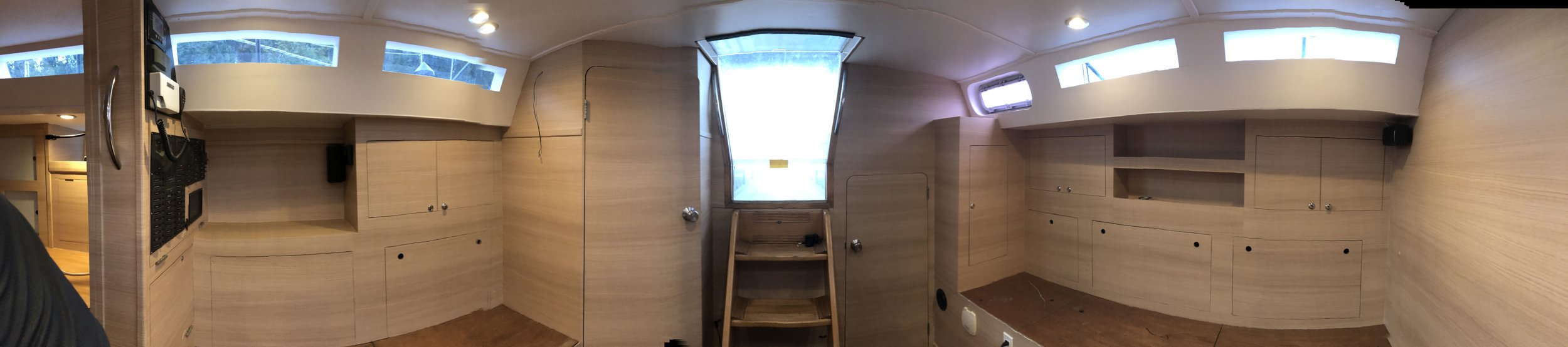 180 Degree view inside the sail boat