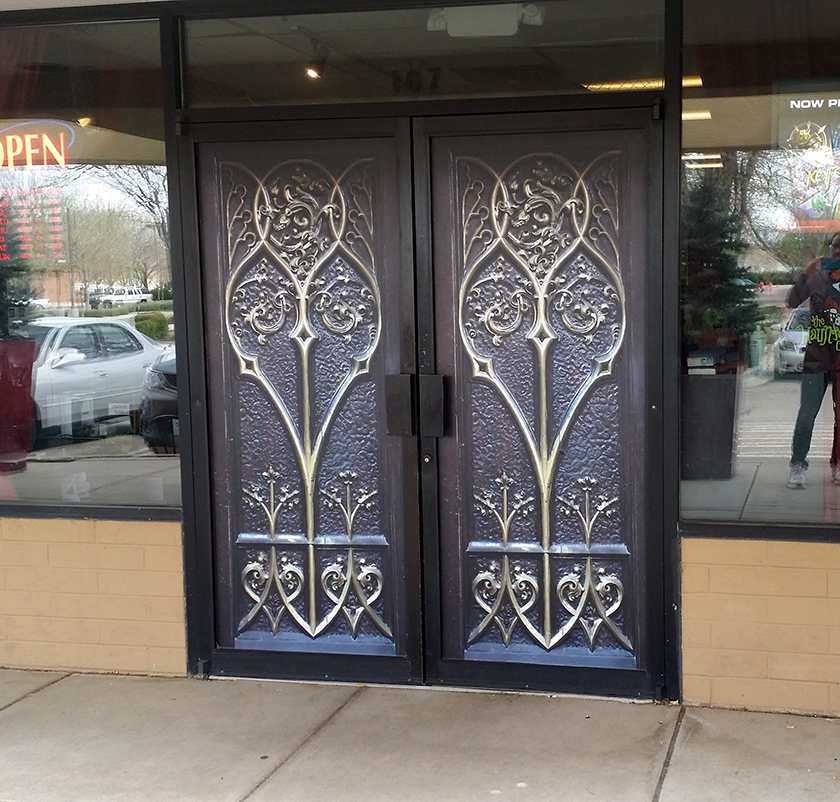 Gothic, Gold, Door Wrap, Rm wraps, commercial door wrap