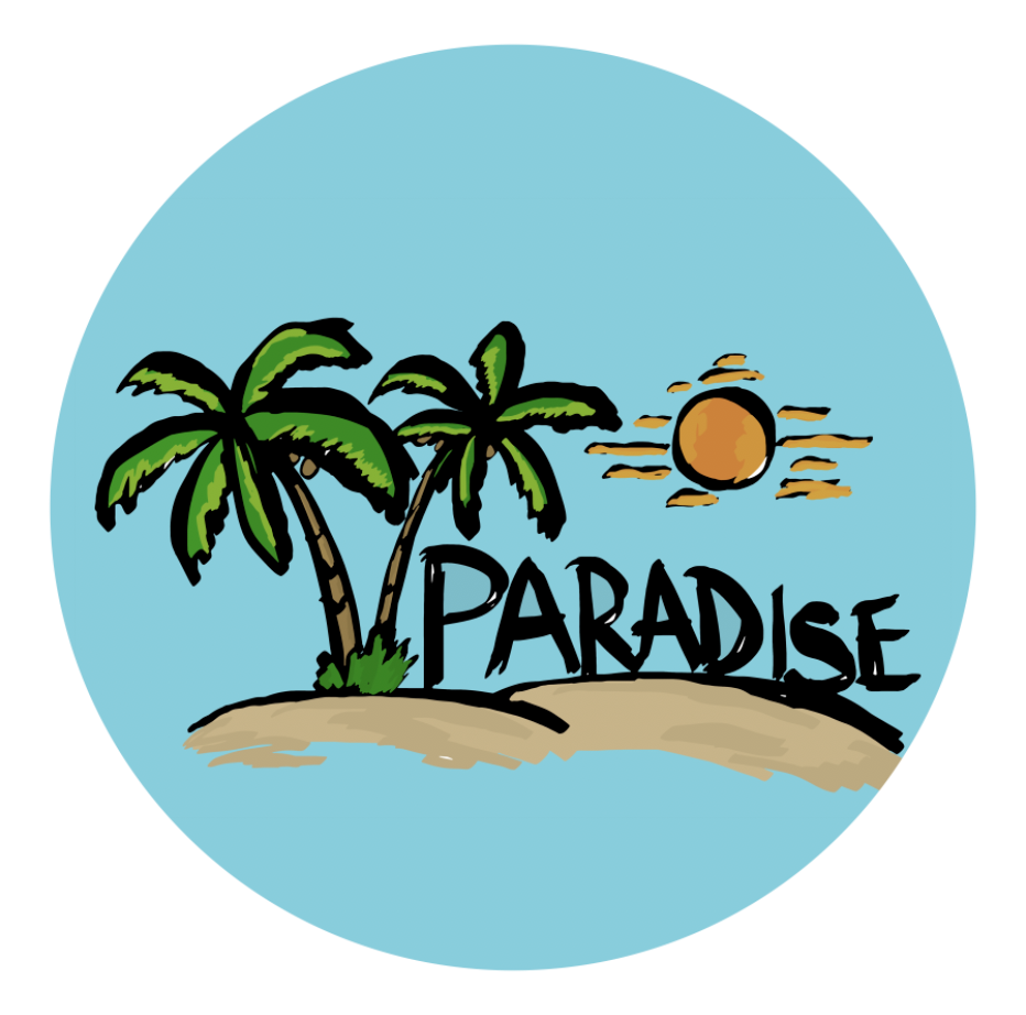 Paradise, Table Wrap, Rm wraps, Palm trees, Island, Sand, Table cover