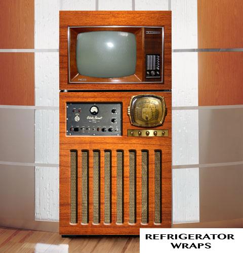 Vintage tv radio refirgerator wrap