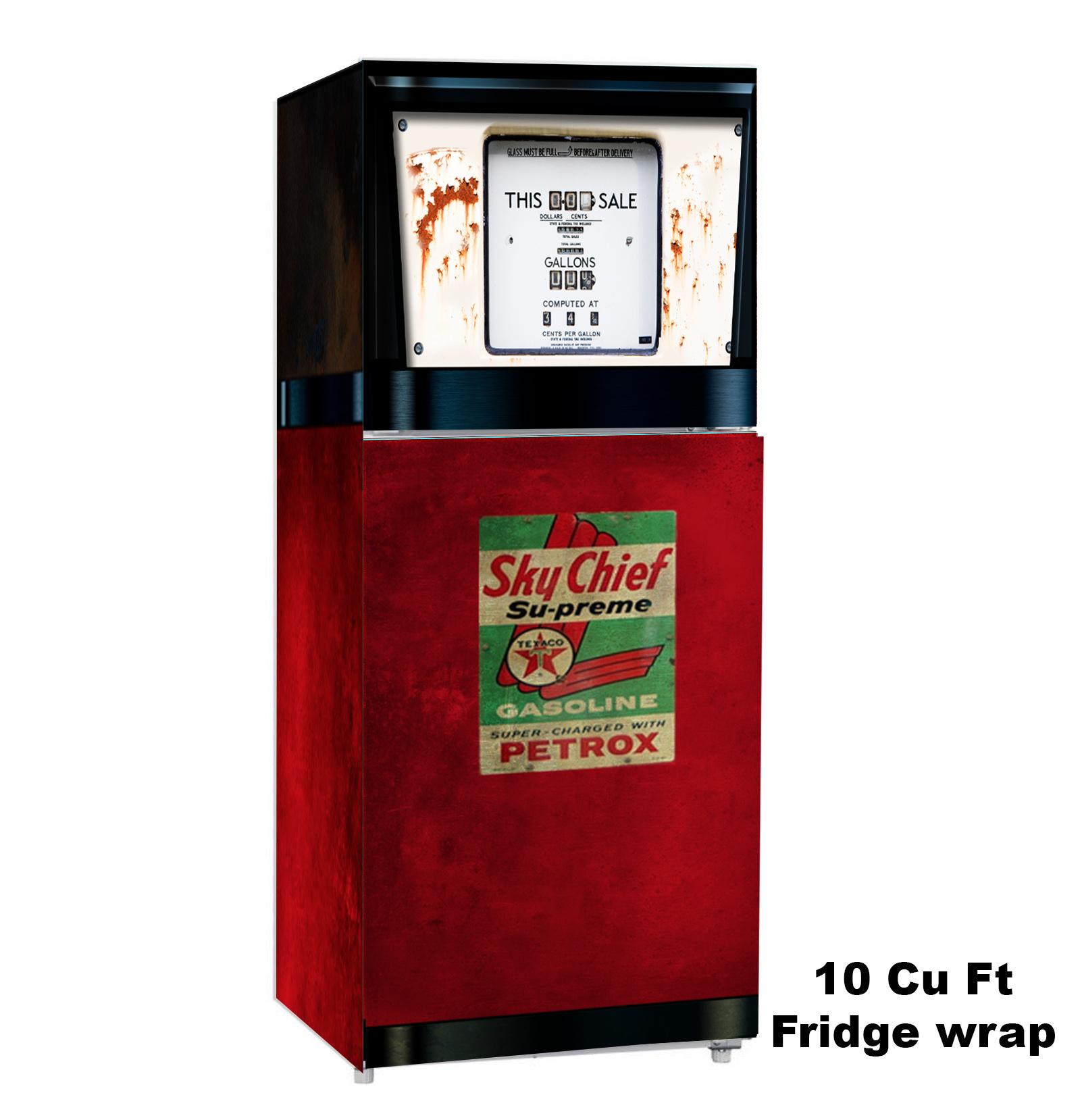 sky chief ,Texaco, gas Pump, 10 cu ft Fridge, rm wraps, Fridge wrap