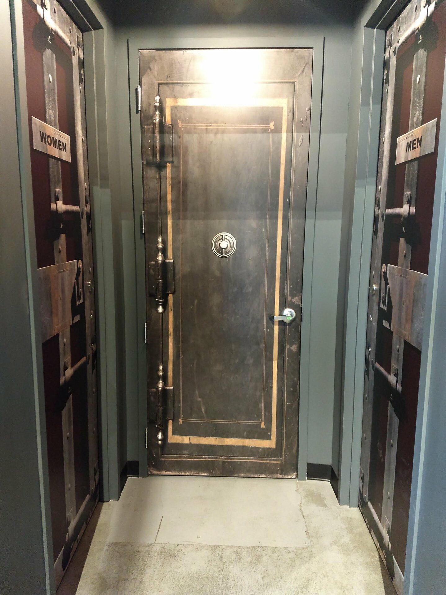 Red Old inside Metal Restrooms Door wrap — Rm Wraps