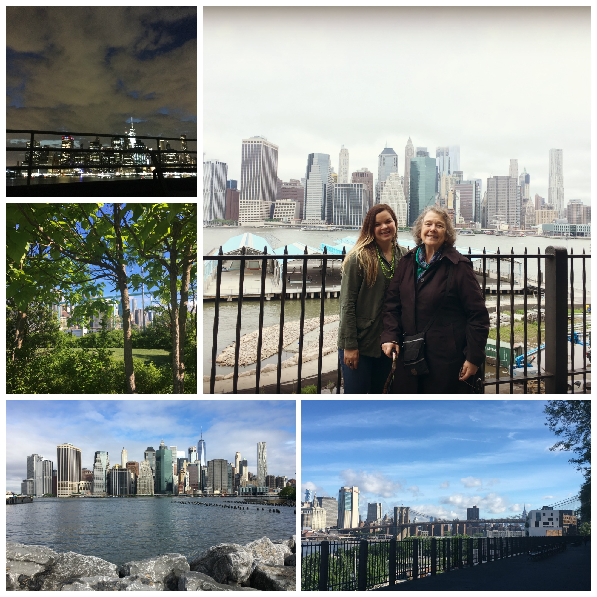 Clockwise: view of Manhattan from the roof deck, with DG on the Brooklyn Heights Promenade, view of Manhattan from Pier Park, garden on Pier 6.