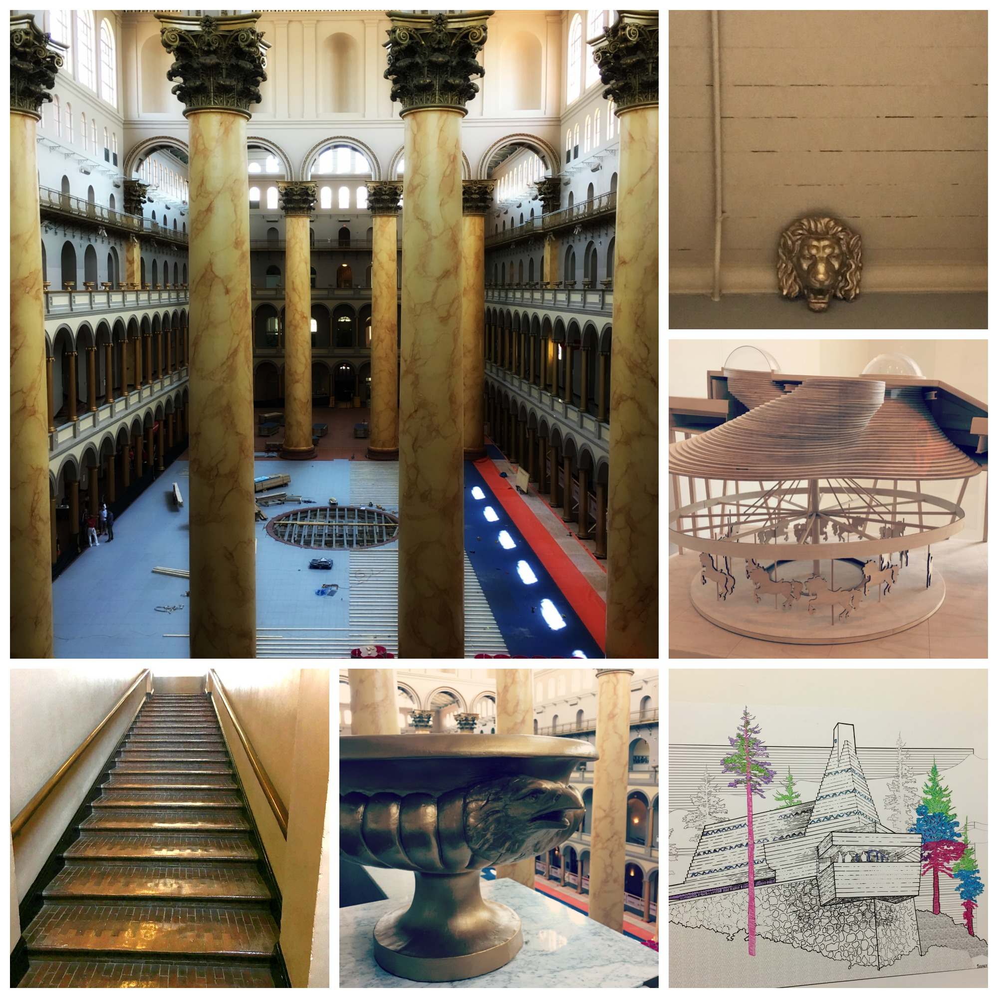 We love museums! - We went to the National Building Museum to see the Frank Lloyd Wright exhibit and draw on the walls.