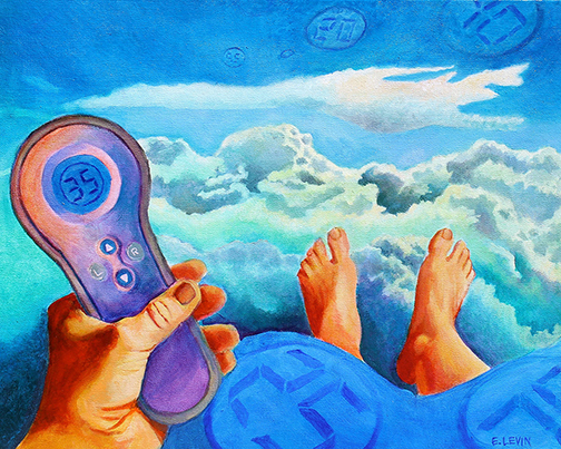 "Select Comfort   by  Edy Pickens Levin   acrylic on canvas 16"" x 20"" I began this piece about Select Comfort, the manufacturers of Sleep Number beds, by imagining myself reclining and immersed in clouds. From a horizontal position, I photographed my left hand and both feet in front of me. I merged the picture of my extended limbs with a digitally contrived imaginary cloudscape. After conceiving of the idea in this format, I began to work with acrylics on canvas. I painted blue-gray layers of opaque cloud formations using varying tones of cerulean and ultramarine blue. Once the initial concept was blocked in, the painting became about playing with layers of color. I used translucent glazes on top of the opaque layers to achieve luminosity. The warm glazes I added in the foreground reference a sunset happening in the nearby stratosphere. As verified by the digital reading on the remote, the reclining figure/viewer is enjoying a Sleep Number setting of thirty-five as she drifts into slumber. Some Sleep Number settings, which occur in multiples of five, are dreamily floating through the sky and are also printed on the blue blanket from which the recliner's feet are peeking."