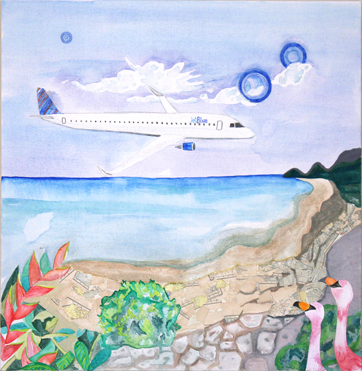 "Jet Blue   by Hilary Hahn  mixed media 30"" x 30"" In my artwork, I explore landscapes using layering and collage techniques. I enjoy building up layers of translucent paint until the artwork finally feels complete. For this painting, I was inspired by Jet Blue, as 21st century company, I looked to their up-to date graphics and plane tail patterns. I wanted the artwork to feel light, airy and modern. I chose colors that worked with the Jet Blue palette of orange and blue. I extended the palette to include tropical jewel tones. After learning that Jet Blue flights service the United States, Mexico, and Caribbean, I desired to transport the viewer to the lushness of a far off destination. The setting is a fantasy location. The water media used in the piece are analogous to the translucent oceans and crystal clear surf. In the corner, a duo of flamingo silhouettes adds texture and peer on. Organic forms, plants, rock, and sea sponges live here. The beach itself made of collage and gouache. The sandy shore was crafted from a crumbling map, copyrighted and printed in 1902 by Dodd Mead Map Company of the Antilles.  I encourage the onlooker to soak in the details and scenery. I imagine the modern traveler voyaging to this tropical locale."