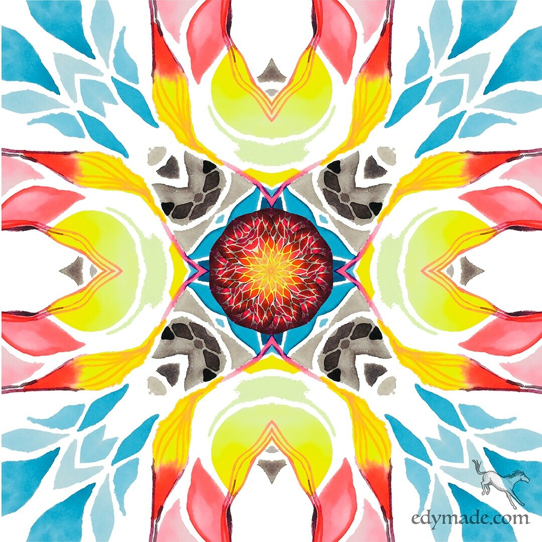 That flare is entering my body as nourishment--it is the warm center of a radiant mandala. - Image: Palm Springs Transmutation, 2019