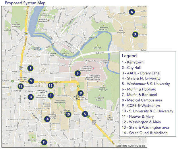 Map of stations around Downtown Ann Arbor and the University of Michigan Campus