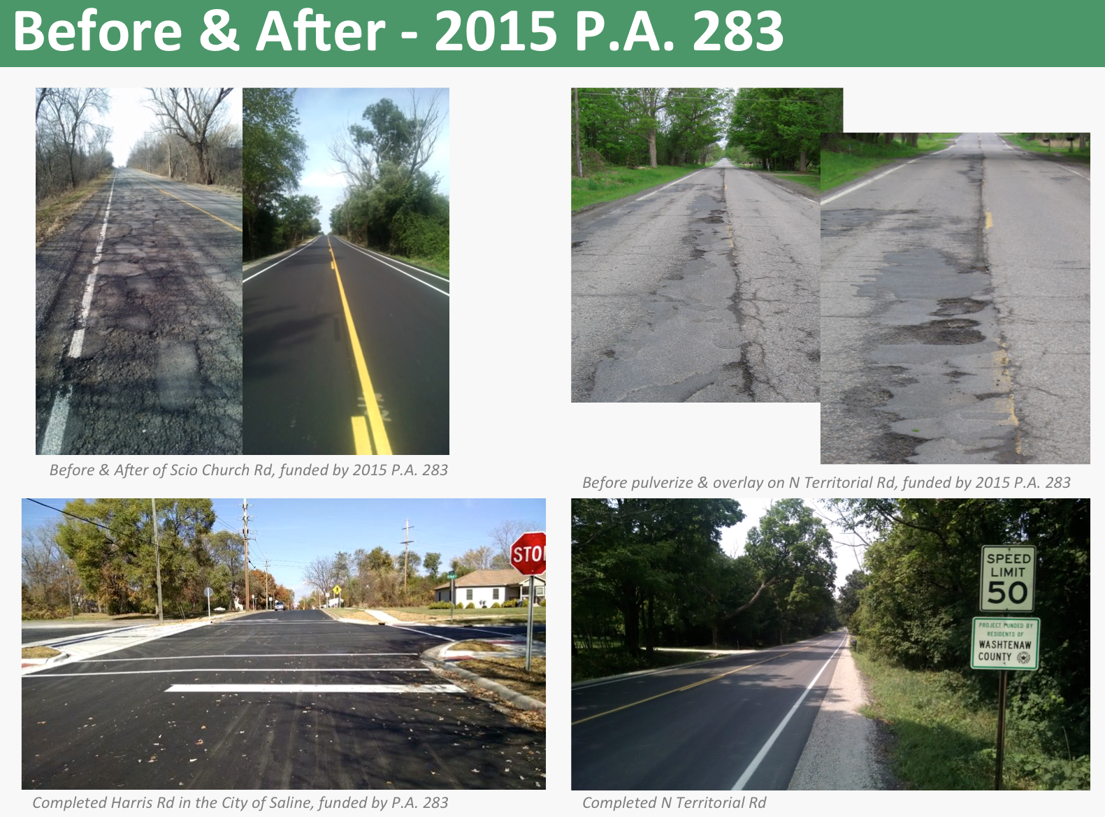 Before and After pictures of projects that benefitted from PA 283