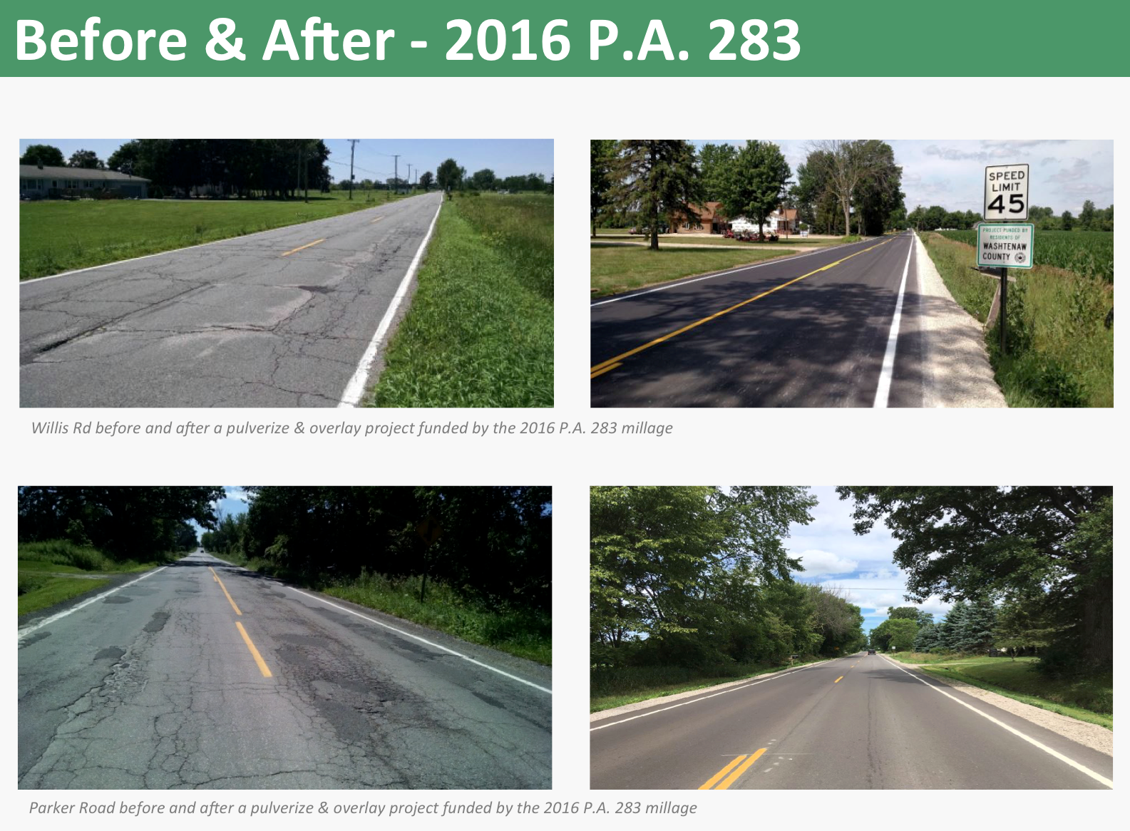Before and after pictures of projects funded by the 2016 PA 283 millage.