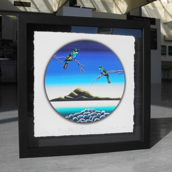 Island Bay Tapu Te Ranga   - Limited Edition  - Giclee on Hannemuhle - 34 X 34  - Float mounted - NZ Timber Framed