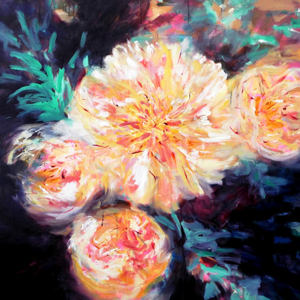 Loves Colour - Oil on Canvas - 101 X 101cm - Jane Blackmore - $2800