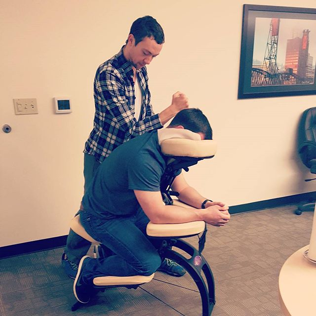 Massage, in yet another business conference room. :)