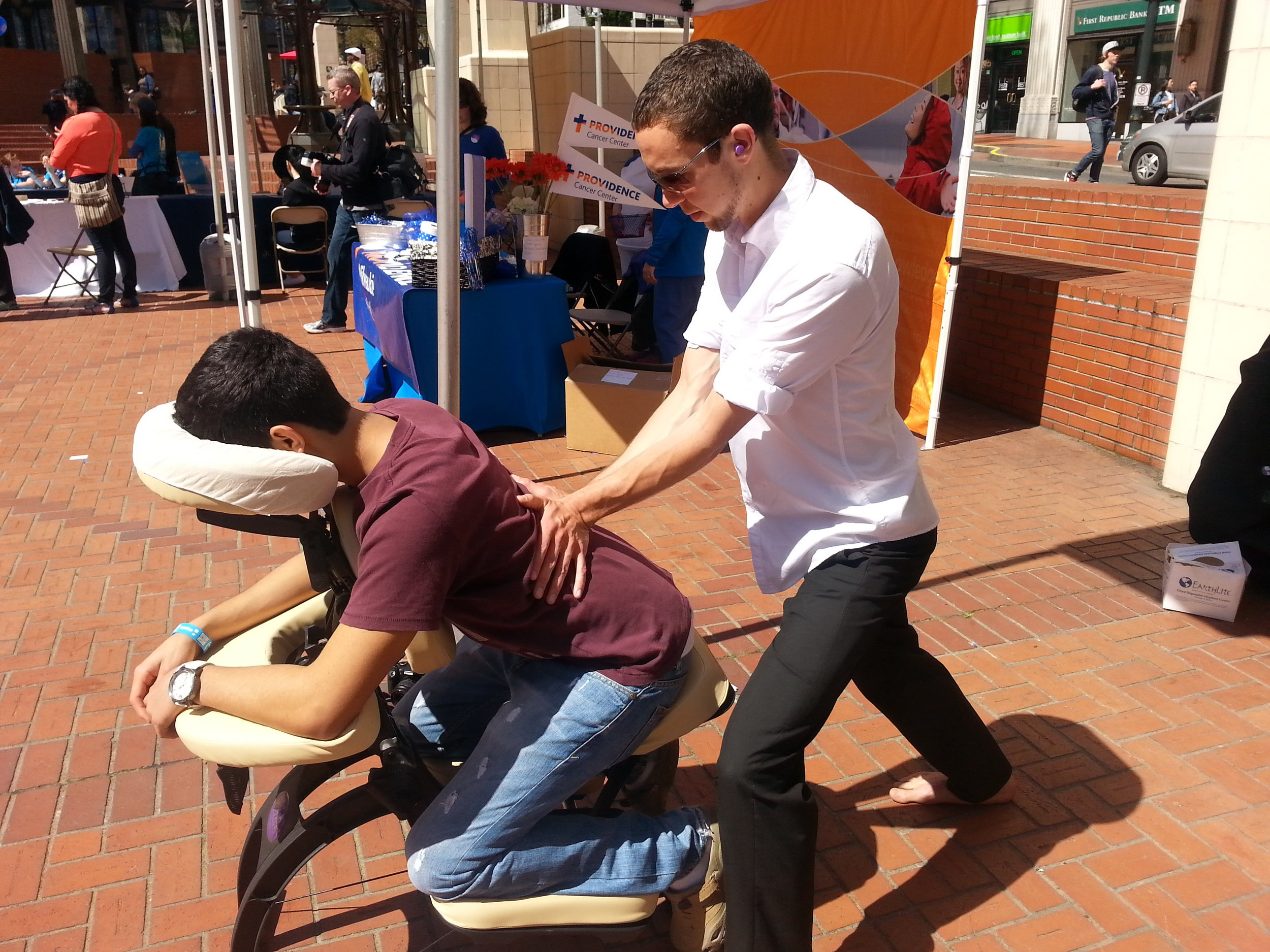 Event Massage, this time out doors.